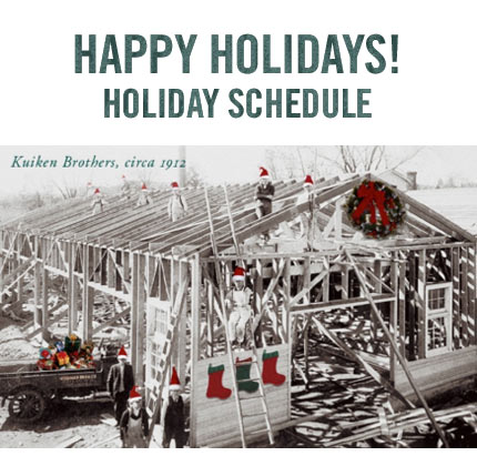 Happy Holidays! Holiday schedule