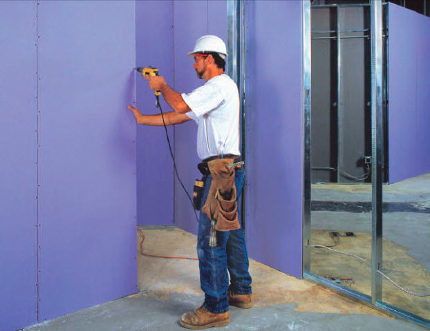 National gypsum xp purple drywall board protects against for Gold bond sheetrock