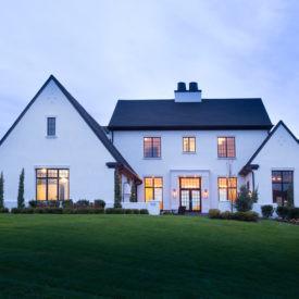 Tudor Style Home Features Andersen 400 Series Windows, Black Interior Grilles Replicate Look of Traditional Steel Casement Windows