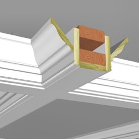 "The anatomy of a coffered ceiling. How it all comes together when you pull two moulding profiles from our in-stock selection of over 450 options. This combination is ""Coffer 9"" and features KB320 crown and KB111 inverted base which gives you a sharp shadow line at the bottom of the beam. You can print off a PDF of the detailed plan for this coffered ceiling from the Moulding Design Guide on our website."