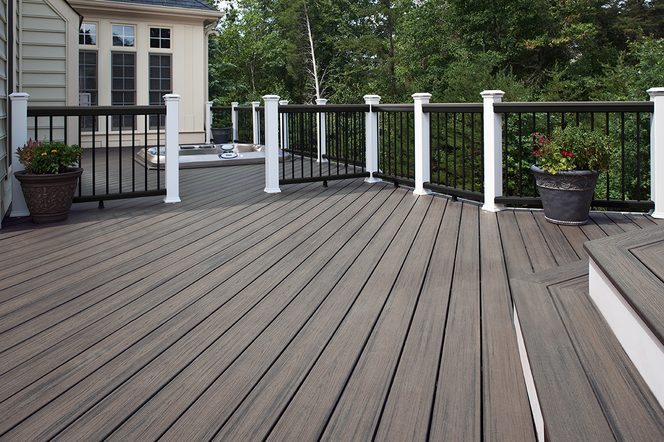 Trex transcend new color island mist in stock at kuiken for Composite decking and railing